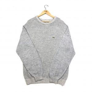 vintage lacoste crocodile logo grey knit jumper