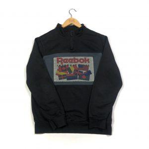 vintage reebok international flag graphic black quarter-zip sweatshirt
