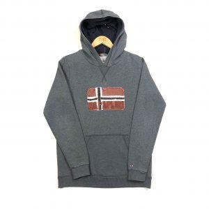 vintage napapijri embroidered flag logo grey hoodie