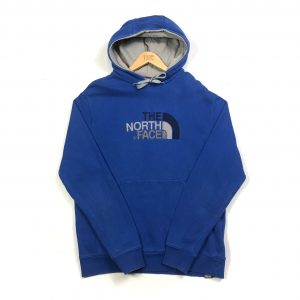 vintage the north face tnf embroidered logo blue hoodie