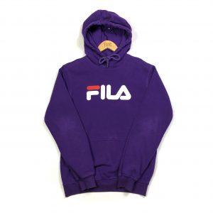 vintage clothing fila printed spell out purple hoodie
