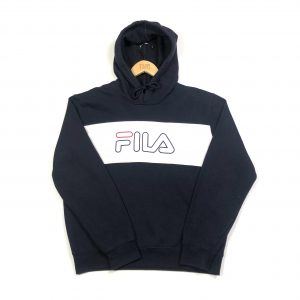 vintage clothing fila embroidered logo navy hoodie