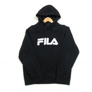 vintage fila black emboirdered spell out logo hoodie