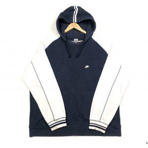 vintage nike essential logo navy and white hoodie