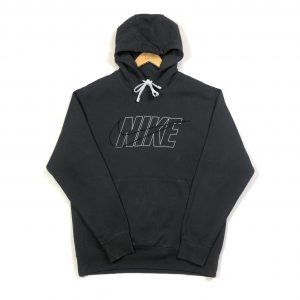 vintage nike spell out big embroidered swoosh grey hoodie