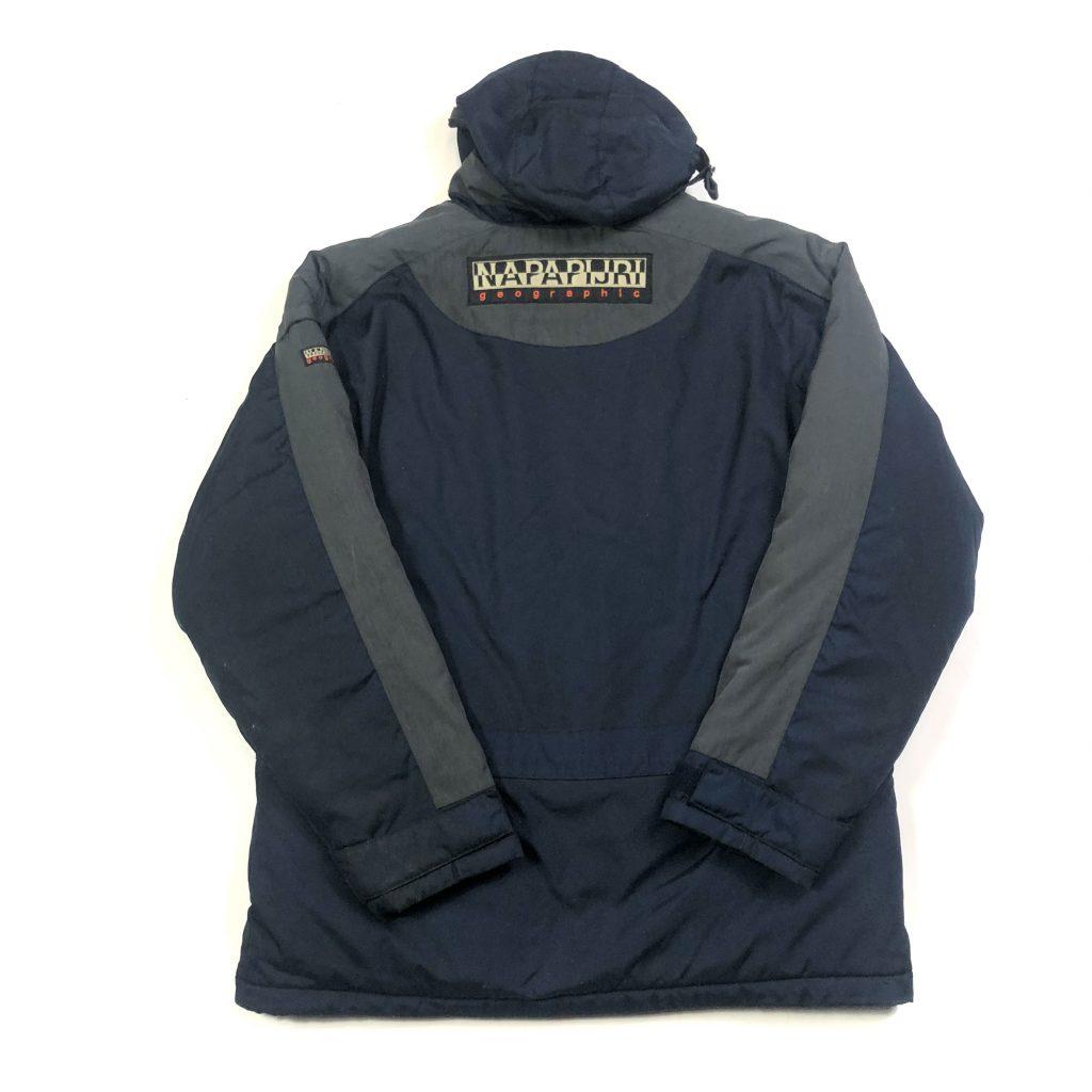 vintage napapijri hooded waterproof navy jacket with logo back