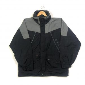 vintage nike swoosh waterproof black jacket