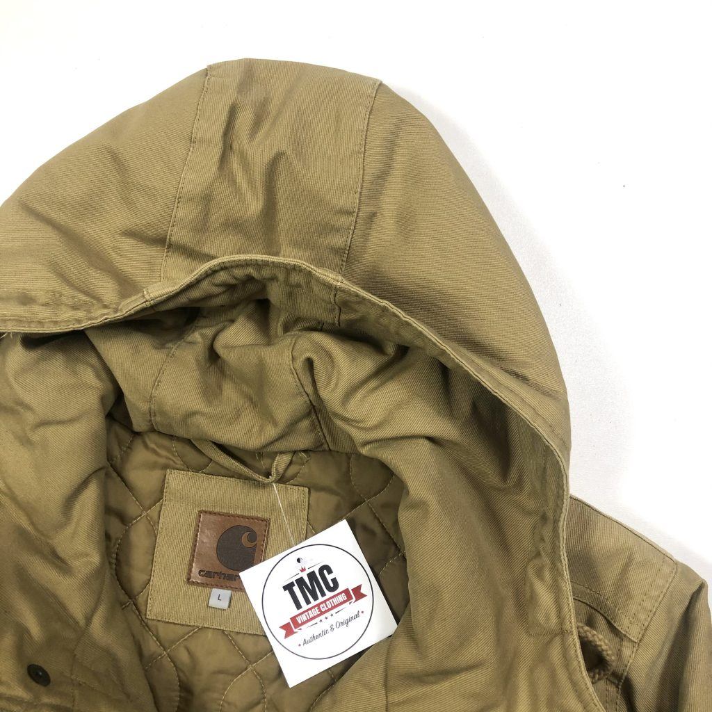 vintage carhartt beige hooded parka jacket