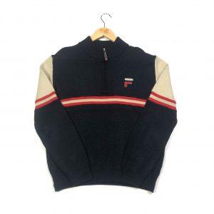 vintage fila embroidered quarter zip black knit jumper