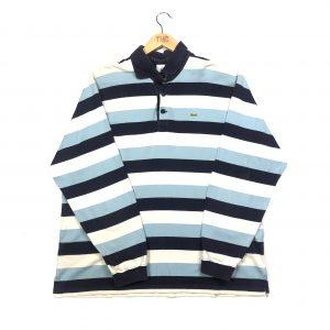 vintage lacoste blue striped long sleeve polo sweatshirt
