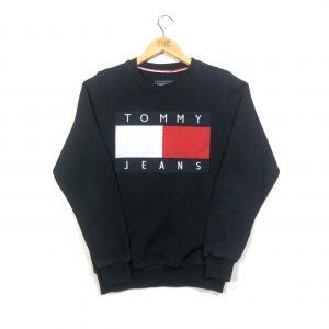 vintage tommy hilfiger embroidered navy sweatshirt
