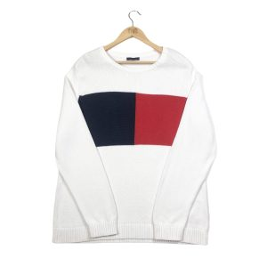 vintage tommy hilfiger big logo white knit jumper
