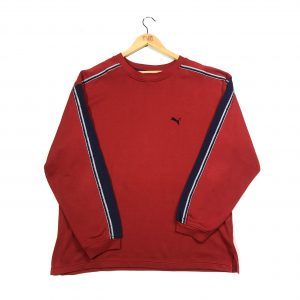 vintage puma embroidered essential logo red sweatshirt