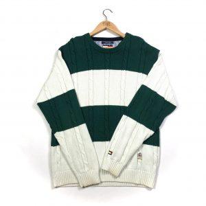 vintage tommy hilfiger green white cable knit jumper