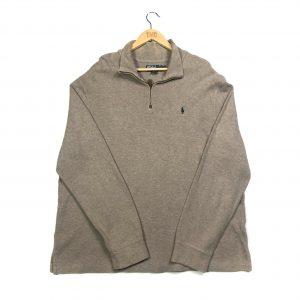 vintage clothing ralph lauren brown pony quarter-zip sweatshirt