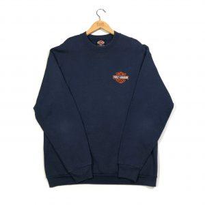 vintage harley-davidson embroidered logo navy sweatshirt