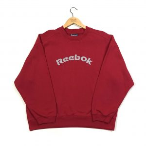 vintage clothing reebok embroidered red spell out sweatshirt