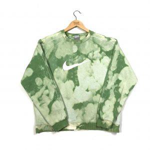 vintage nike green tie-dye embroidered swoosh logo sweatshirt