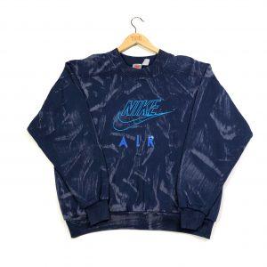 vintage nike air 80s tie-dye embroidered logo navy sweatshirt