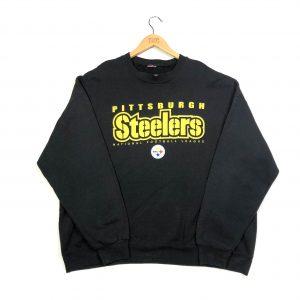 vintage nfl pittsburgh steelers printed usa sweatshirt in black