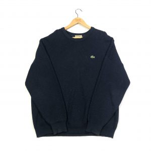 vintage lacoste navy knit round neck jumper