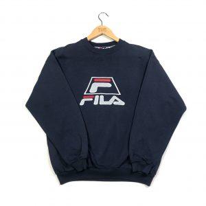 vintage clothing fila embroidered logo navy sweatshirt