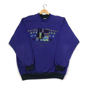 vintage 90s oversized puma sport purple sweatshirt