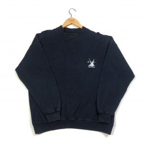 vintage helly hansen navy embroidered logo ribbed sweatshirt