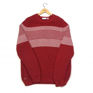 vintage clothing lacoste red striped knit jumper