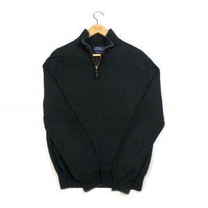 vintage clothing ralph lauren black quarter-zip jumper