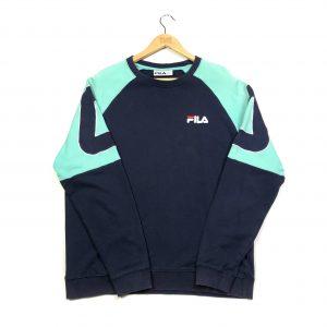 vintage fila embroidered logo sleeves navy sweatshirt