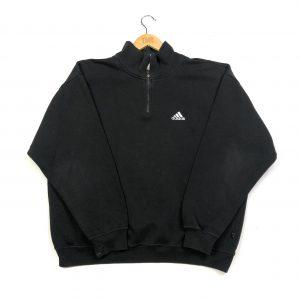 vintage clothing adidas essential logo black quarter-zip sweatshirt
