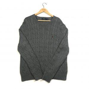 vintage ralph lauren pony logo cable knit grey jumper