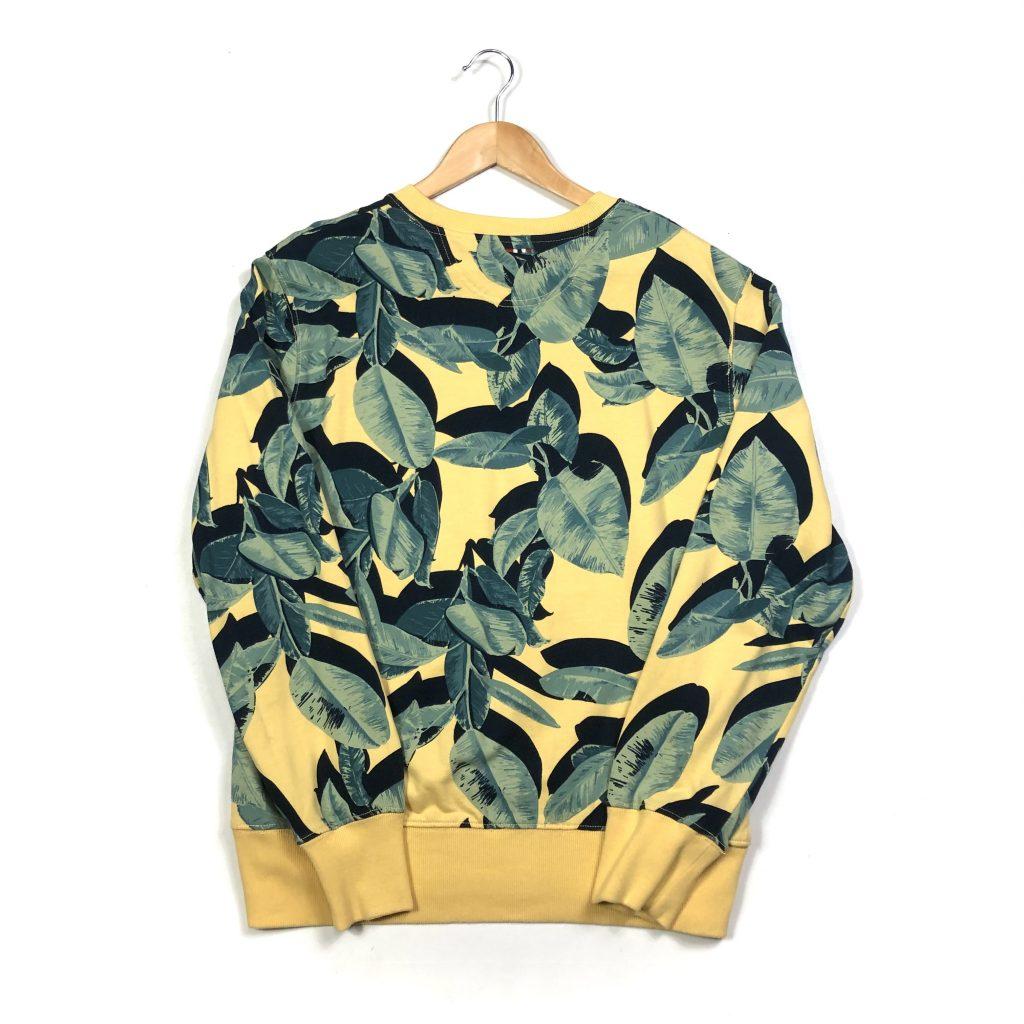vintage clothing napapijri hawaii leaf pattern yellow sweatshirt