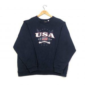 vintage clothing use embroidered american flag navy sweatshirt