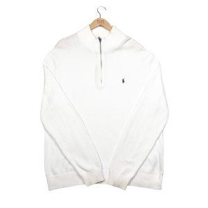 vintage ralph lauren white quarter-zip ribbed knit jumper