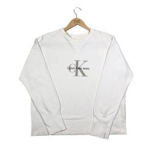 vintage calvin klein embroidered logo white sweatshirt