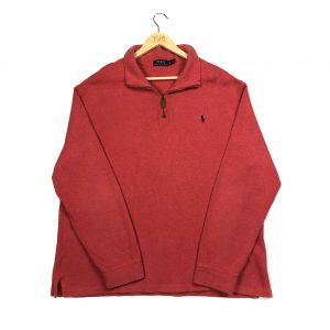 vintage ralph lauren red quarter-zip sweatshirt embroidered pony logo