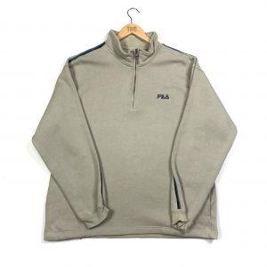 vintage clothing fila beige quarter-zip sweatshirt
