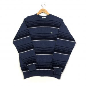vintage clothing lacoste navy horizontal striped knit jumper