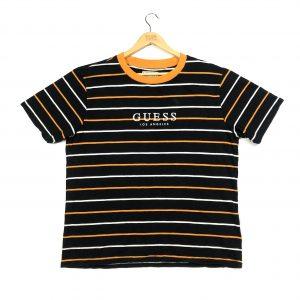 vintage guess branded black striped short sleeve t-shirt