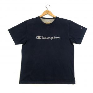vintage champion embroidered spell out navy t-shirt