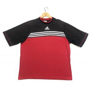 vintage adidas 90s centre logo 3-stripes red short sleeve t-shirt
