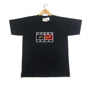 vintage bootleg tommy hilfiger embroidered logo black t-shirt