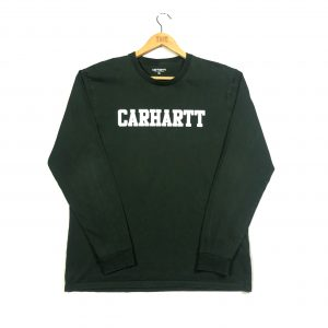 vintage carhartt printed spell out green long sleeve t-shirt