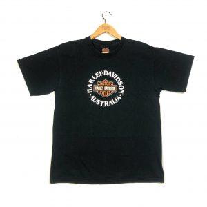 vintage harley-davidson australia printed short sleeve t-shirt