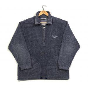 vintage reebok essential logo grey quarter-zip fleece