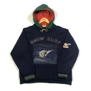 vintage 80s adidas snow surf printed graphic navy fleece hoodie