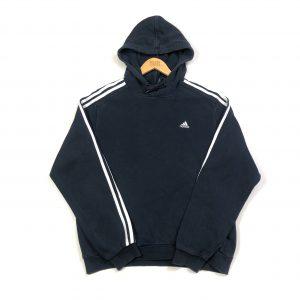 vintage adidas 3 stripes essential navy hoodie