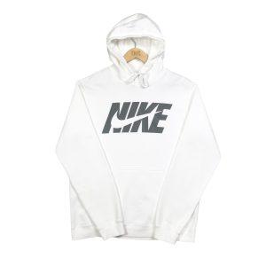 vintage nike white printed swoosh logo hoodie